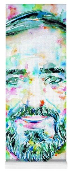 Luciano Pavarotti - Watercolor Portrait Yoga Mat