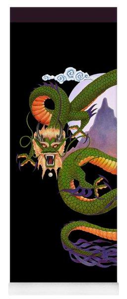 Lunar Chinese Dragon On Black Yoga Mat