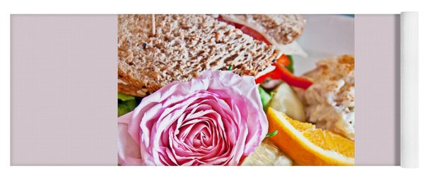Lunch Sandwich With Pink Rose Garnish Yoga Mat