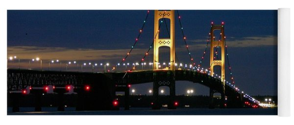 Mackinac Bridge At Dusk Yoga Mat