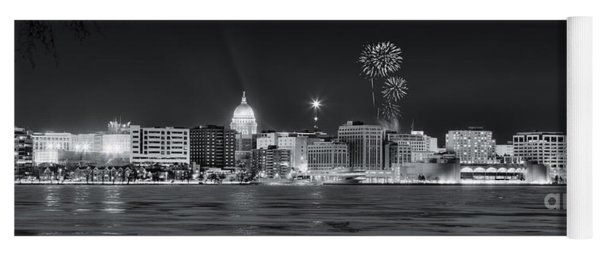 Madison - Wisconsin -  New Years Eve Panorama Black And White Yoga Mat