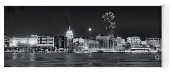 Madison - Wisconsin -  New Years Eve Panorama Black And White Yoga Mat