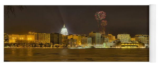 Madison Skyline New Years Eve Yoga Mat