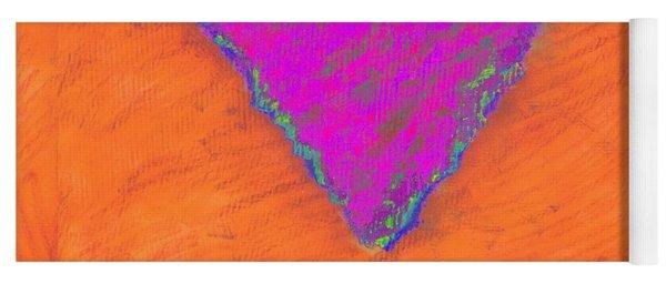 Magenta Triangle On Orange Yoga Mat