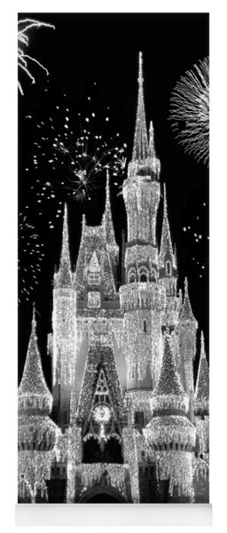 Magic Kingdom Castle In Black And White With Fireworks Walt Disney World Yoga Mat