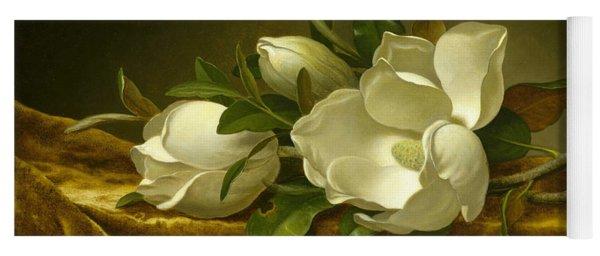 Magnolias On Gold Velvet Cloth Yoga Mat