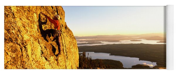 Man Climbing Up A Mountain, Rockchuck Yoga Mat