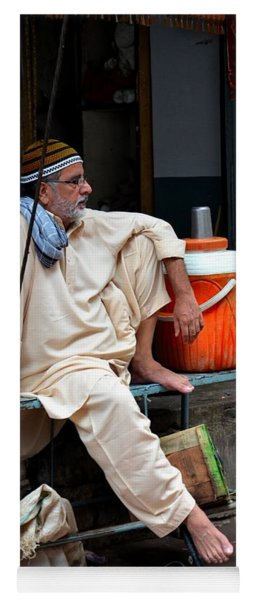 Man Sits And Relaxes In Lahore Walled City Pakistan Yoga Mat