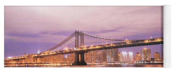 Manhattan Bridge And New York City Skyline At Night Yoga Mat