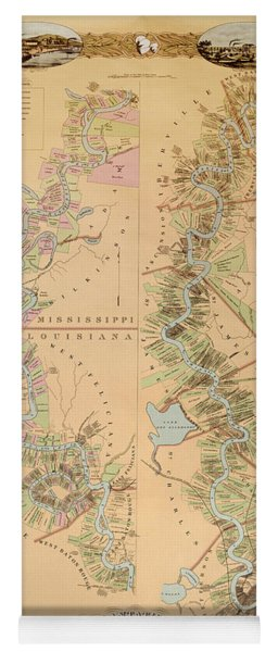 Map Depicting Plantations On The Mississippi River From Natchez To New Orleans Yoga Mat