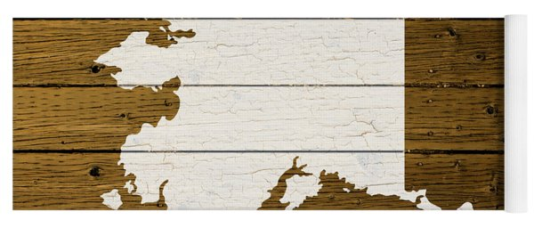 Map Of Alaska State Outline White Distressed Paint On Reclaimed Wood Planks. Yoga Mat