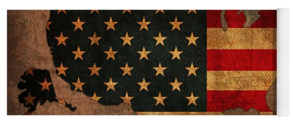 Map Of America United States Usa With Flag Art On Distressed Worn Canvas Yoga Mat