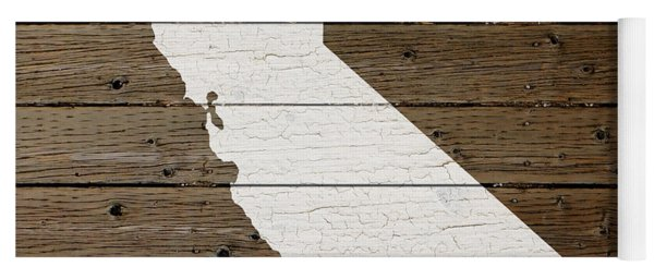 Map Of California State Outline White Distressed Paint On Reclaimed Wood Planks Yoga Mat