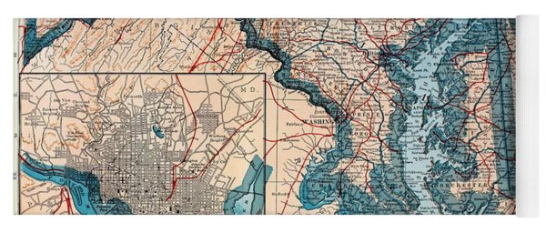 Map Of Delaware And Maryland 1921 Yoga Mat