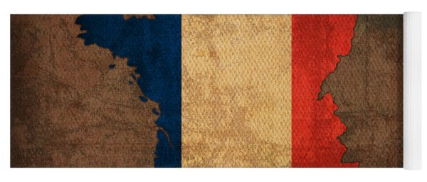 Map Of France With Flag Art On Distressed Worn Canvas Yoga Mat