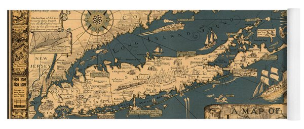 Map Of Long Island Yoga Mat