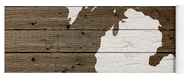 Map Of Michigan State Outline White Distressed Paint On Reclaimed Wood Planks Yoga Mat