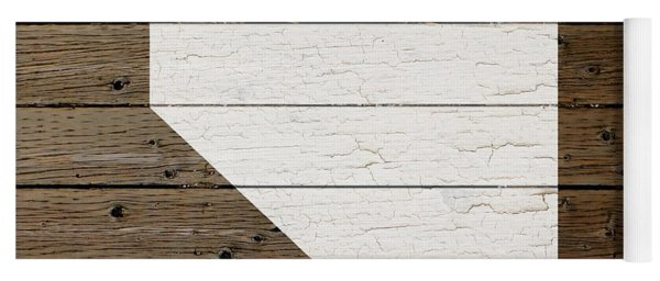 Map Of Nevada State Outline White Distressed Paint On Reclaimed Wood Planks Yoga Mat