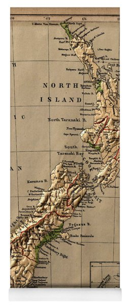 Map Of New Zealand 1880 Yoga Mat
