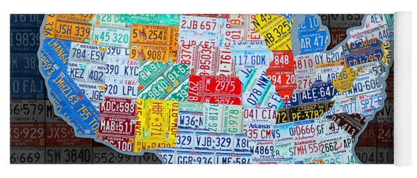 Map Of The United States In Vintage License Plates On American Flag Yoga Mat