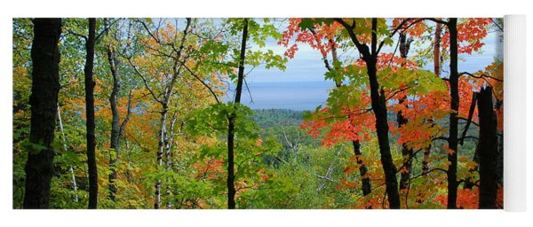 Yoga Mat featuring the photograph Maples Against Lake Superior - Tettegouche State Park by Cascade Colors