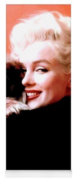 Marilyn Monroe And Pekingese Portrait Yoga Mat
