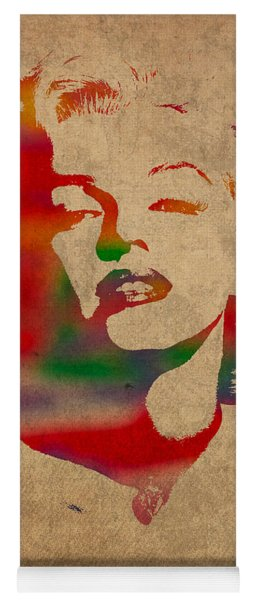 Marilyn Monroe Watercolor Portrait On Worn Distressed Canvas Yoga Mat