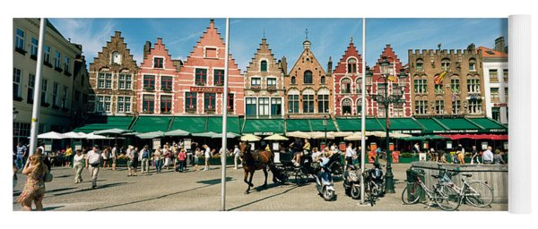 Market At A Town Square, Bruges, West Yoga Mat
