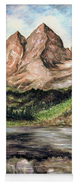 Maroon Bells Colorado - Landscape Painting Yoga Mat