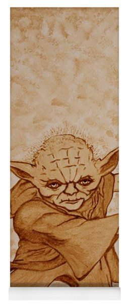 Yoga Mat featuring the painting Master Yoda Jedi Fight Beer Painting by Georgeta  Blanaru