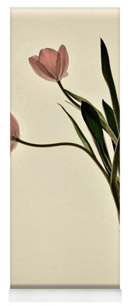 Mauve Tulips In Glass Vase Yoga Mat