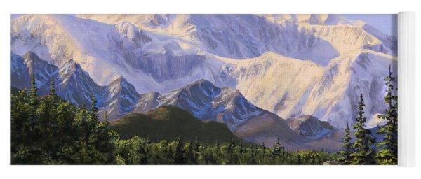 Majestic Denali Mountain Landscape - Alaska Painting - Mountains And River - Wilderness Decor Yoga Mat