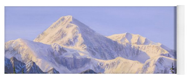 Majestic Denali Mountain Landscape - Alaska Painting - Mountains And River - Wilderness Decor Yoga Mat