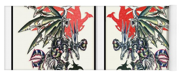 Mech Dragons Collide Yoga Mat
