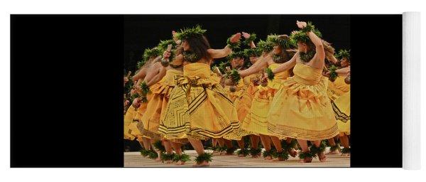 Merrie Monarch Hula Dancers In Yellow Dresses Yoga Mat