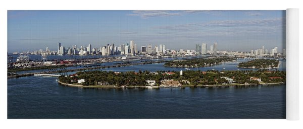 Miami And Star Island Skyline Yoga Mat