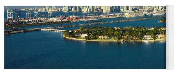 Miami City Biscayne Bay Skyline Yoga Mat