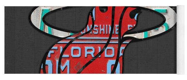 Miami Heat Basketball Team Retro Logo Vintage Recycled Florida License Plate Art Yoga Mat