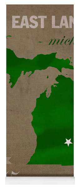 Michigan State University Spartans East Lansing College Town State Map Poster Series No 004 Yoga Mat