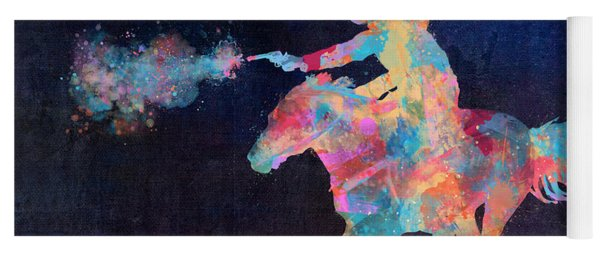 Yoga Mat featuring the digital art Midnight Cowgirls Ride Heaven Help The Fool Who Did Her Wrong by Nikki Marie Smith