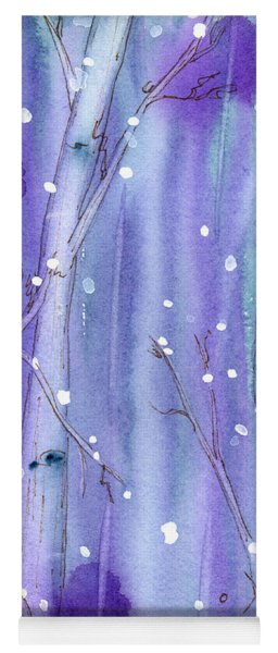 Midnight Snow In The Aspens Yoga Mat
