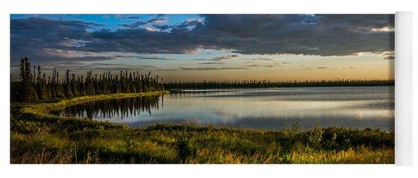 Midnight Sun Over The Pond Yoga Mat