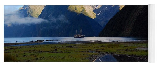 Yoga Mat featuring the photograph Milford Sound by Cascade Colors