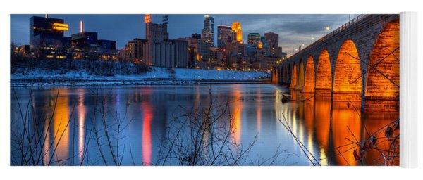 Minneapolis Skyline Images Stone Arch Bridge Spring Evening Yoga Mat