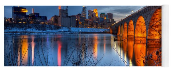 Minneapolis Skyline Images Stone Arch Bridge Spring Evening Yoga Mat