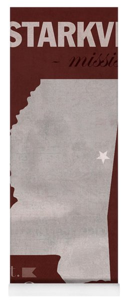 Mississippi State University Bulldogs Starkville College Town State Map Poster Series No 068 Yoga Mat