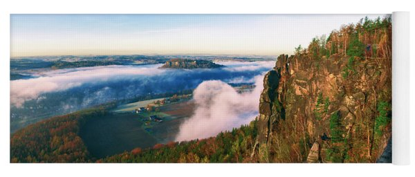 Mist Flow Around The Fortress Koenigstein Yoga Mat