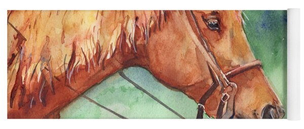 Horse Watercolor Named Mo Yoga Mat