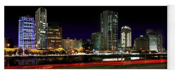 Modern Sao Paulo Skyline Near Brooklin District And Stayed Bridge Yoga Mat