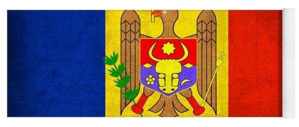 Moldova Flag Vintage Distressed Finish Yoga Mat